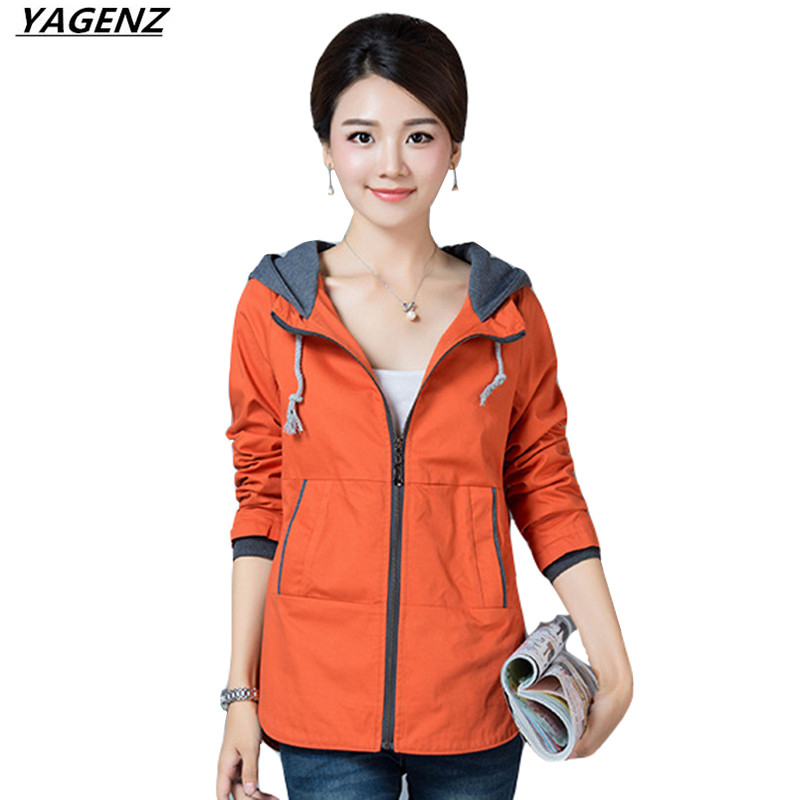 Women Jacket Coat 2017Spring Autumn Cotton Windbreaker Female Hooded Zipper Short Jacket Plus Size 4XL Mother