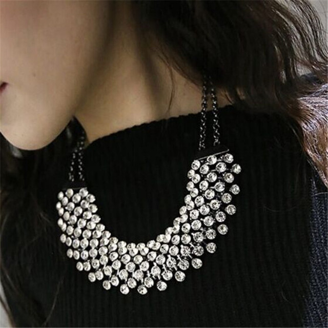 Women Vintage Rhinestone Crystal Maxi Statement Necklace