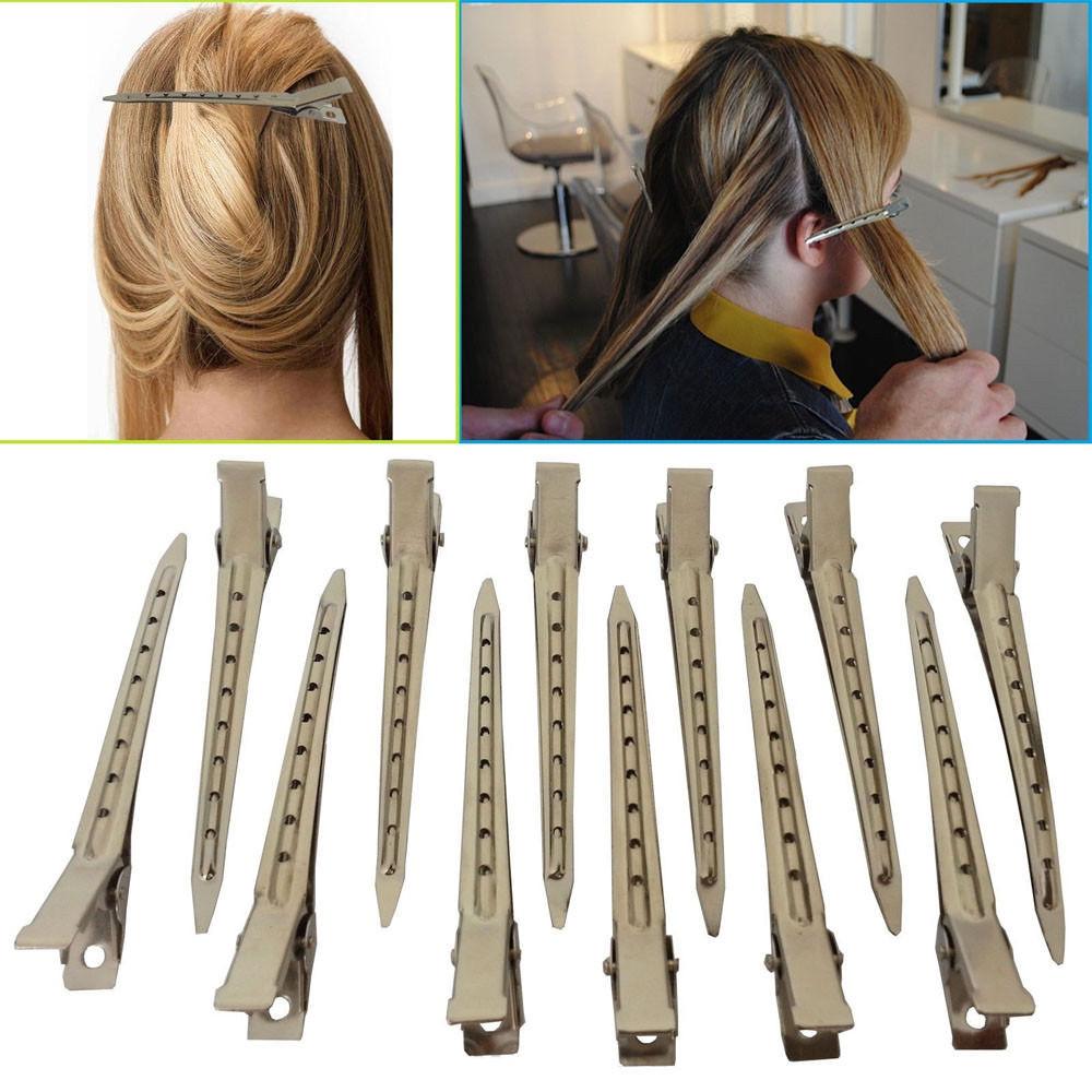 12PCS Salon Alligator Dividing Hair Clips Sectioning Hairpins Bows Black