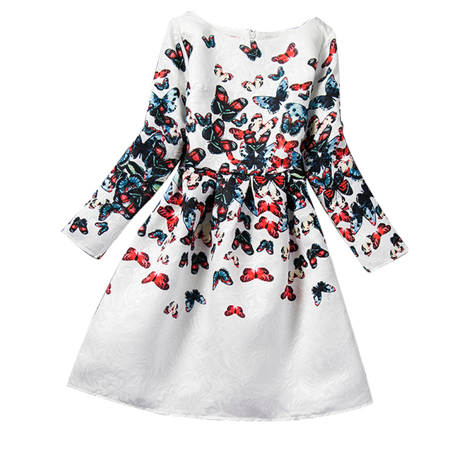 6807b3feb7702d Winter Children Girl Clothing Butterfly Print Teenage Girls Dresses Kids  School Ceremonies Party Wear Clothes Girls Age 12 Years