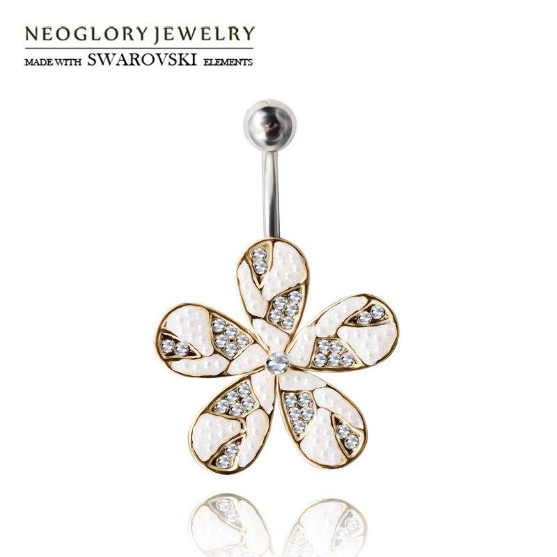 a30ec1634 Neoglory Austria rhinestone & Simulated Pearl Bisutería para el Cuerpo Flor  diseño ombligo y Bell botón el anillo de moda regalo del verano de la  muchacha