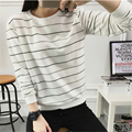 2017 Spring Autumn Fashion Loose Striped Long-sleeved T shirts Women Casual Round Neck Hoodie Female T-shirt Harajuku Blusas XXL