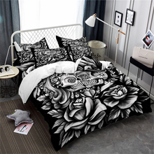 3D Couples Duvet Cover Set Rose Sugar Skull Bedding King Queen Quilt Valentines Day Tribal Bedclothes Pillowcase