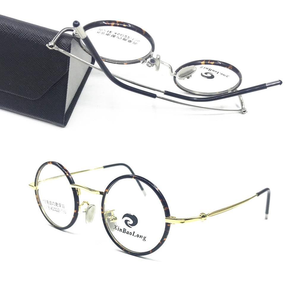 Titanium Vintage 37 Mm Bulat Kecil Penuh Rim Frame Kacamata RX Dapat  Kacamata Pria Wanita Kacamata 079fb2027a