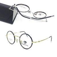 0c976659c9 Pure Titanium Vintage 37mm small Round Full Rim eyeglass frames Rx able Glasses  Men Women Spectacles
