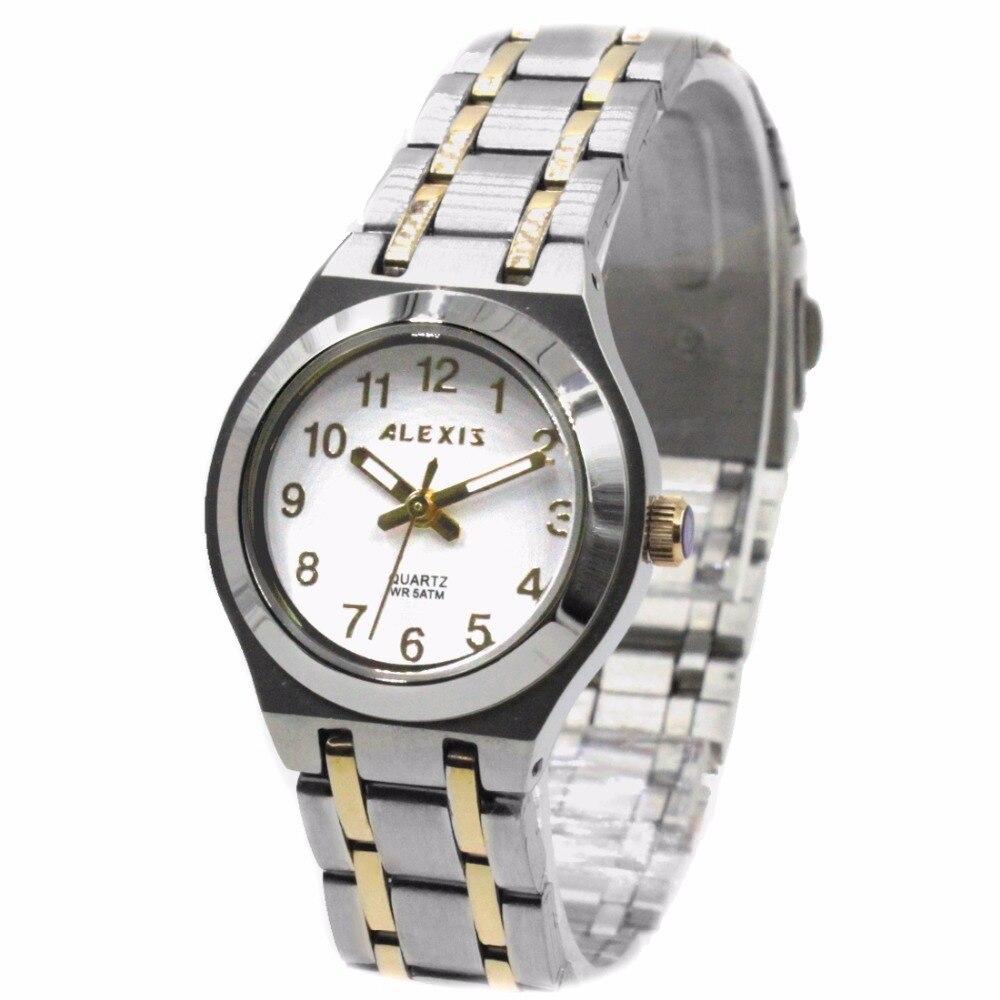 ✔  Alexis Ladies Аналоговые кварцевые круглые часы Япония Miyota Механизм Золото с блестящей лентой из  ①