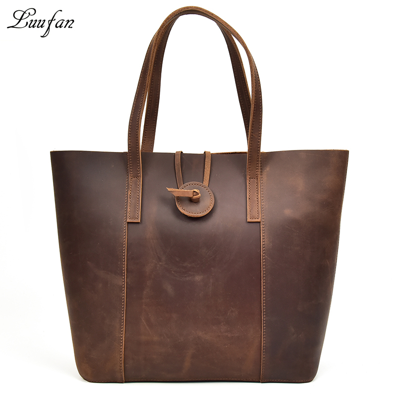 New women genuine leather handbag with removable clutch bag Big crazy horse leather tote bags female