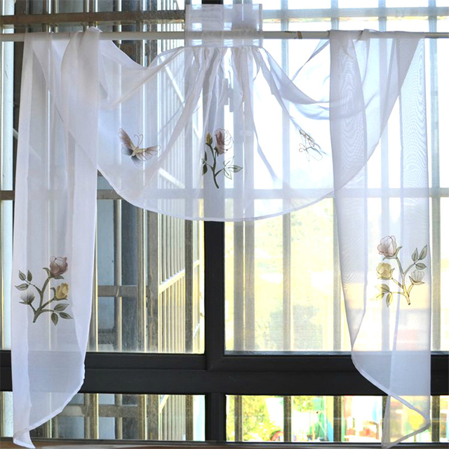 Sheer Tulle Curtains For Kitchen Cafe Embroidered Flower Pastoral Butterfly Short Valances