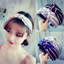 2019 new Korean version of the Mori cloth headband fabric letter wide-brimmed makeup wash knotted hair accessorie