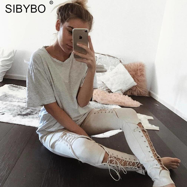 Sibybo Suede Bodycon Bandage Pants Women 2018 Autumn Winter Legging Sexy Slim Club Party Trousers Women Ladies Pencil Pants 1