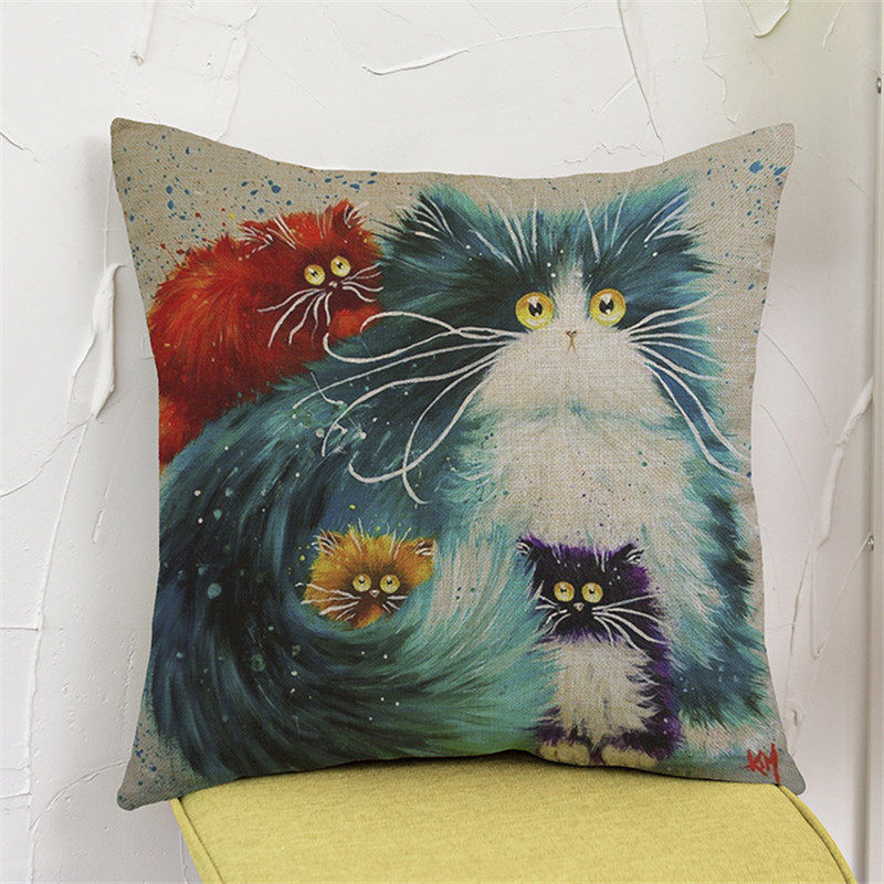Cute cat animal Oil Painting style colorfull Cushion Cover Pillow Case Home club coffee shop bar sofa chair decoration for gift