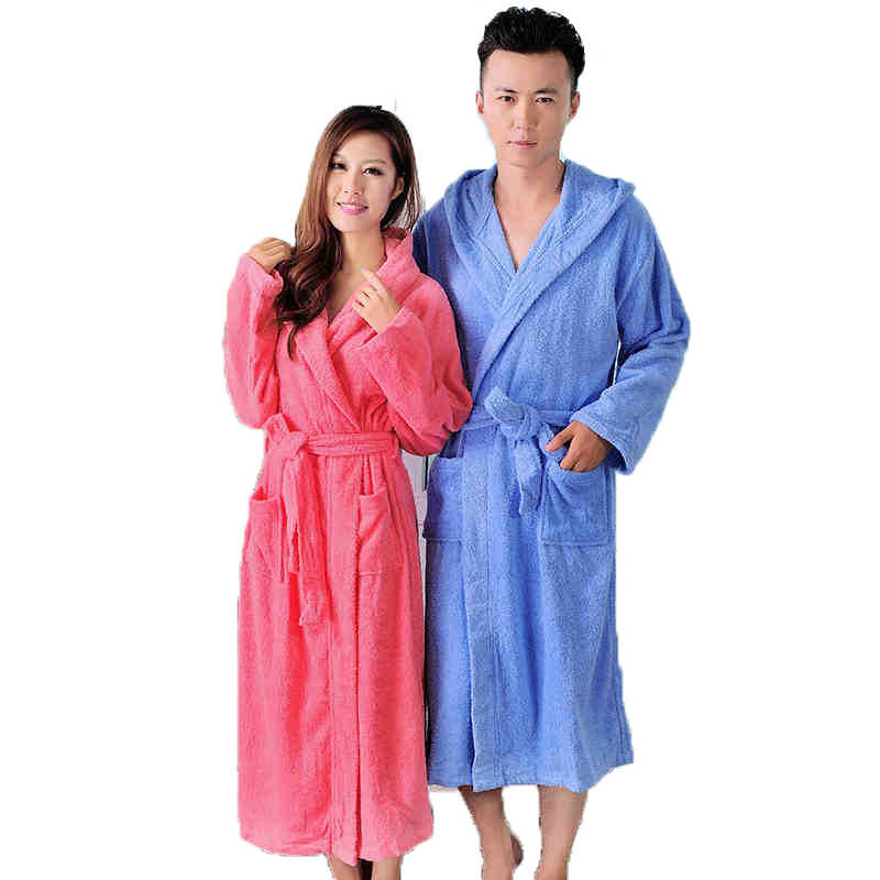 Cotton bathrobe women hooded long warm soft thice men bathrobe XL brand  toweling terry home hotel 5efb3b79f
