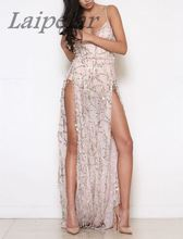 Heavy Metal Long Dress Sequined Fringed Party Dress Women Sexy Slit Dating Perspective Halter Evening Vestidos Female A490066 недорго, оригинальная цена