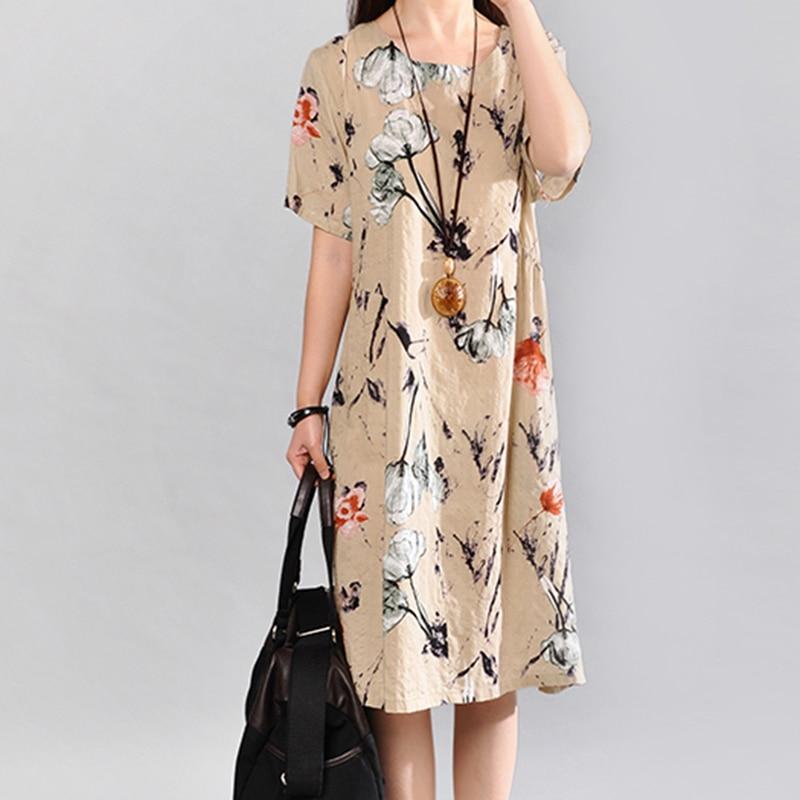 Vestido de mujer Boho vestido con cuello redondo estampado flojo de - Ropa de mujer
