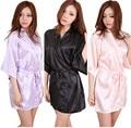 Kimono Robe Faux Silk Women Wedding Bride Bridesmaid Robes Blank Plain Colors Bachelorette Wedding Preparewear Free Shipping