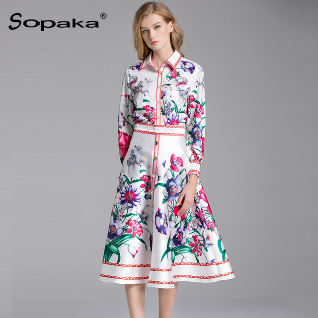 2019 Spring Women Set High Quality White Floral Printed Colorful Shirt +  Skirt Sweet Runway Design 2 Two Piece Set cc55c6daa749