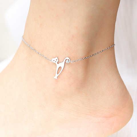 Кошка животное из нержавеющей стали, ножной ювелирные изделия Сандалии ножной браслет Женская Девушка счастливый Шарм Бижутерия для ног Дамская ножная цепочка браслет