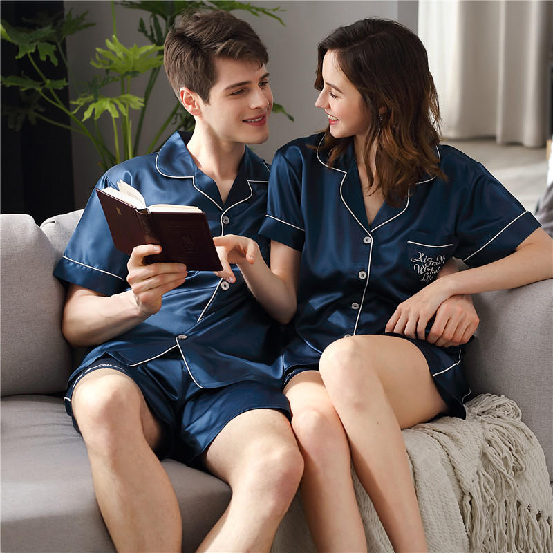 2020 Latest Couple Sleepwear Sexy Satin Silk Pajama Female Male Summer Short Sleeve Shorts Sets Thin Ice Silk Home Wear X9828