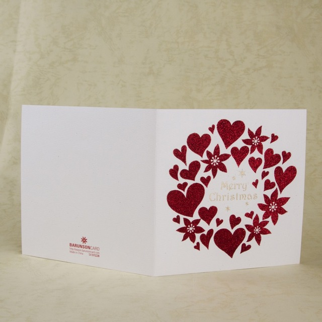 merry christmas cards heart design folding greeting cards new year thank you message invitation with red