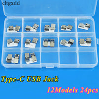 Cltgxdd 12Models 24pcs Micro USB 3 1 Type C Connector 12Pin Female Charge Dock Port Replacement