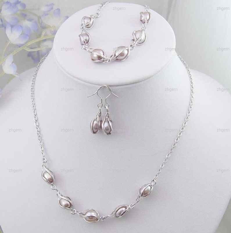 Zxia cena hurtowa naturalny perłowy fioletowy latarnie naszyjnik bransoletka kolczyki zestaw