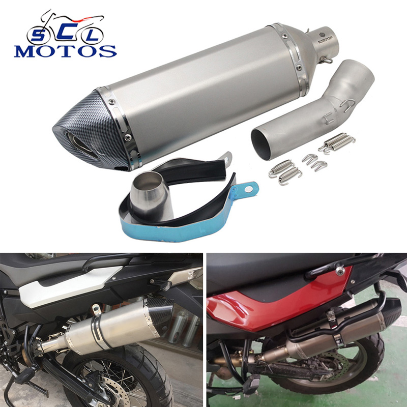 купить Sclmotos - Case for BWM F650GS/F700GS/F800GS Motorcycle Mid Pipe Middle Link Exhaust Muffler with DB Killer Racing Case for BMW по цене 3263.88 рублей