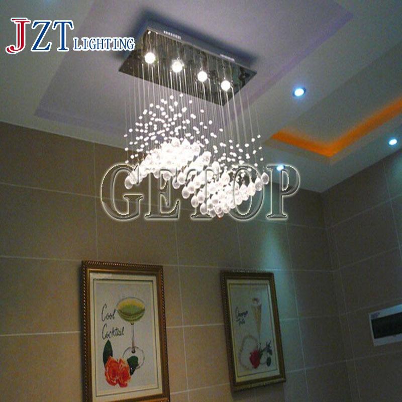 J best price mordern Staircase K9 Crystal Chandelier Villa Luxury Hotel Stair Pendant Lamp LED wave Long Droplight Lighting