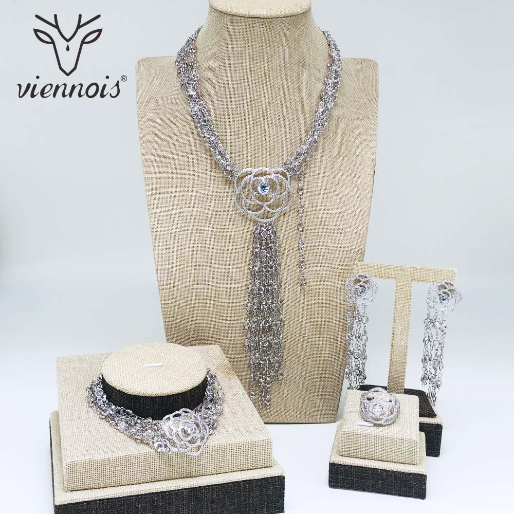 Viennois Silver Color Necklace Set For Women Rhinestone Dangle Earrings Ring Bracelet Set Party Jewelry Set