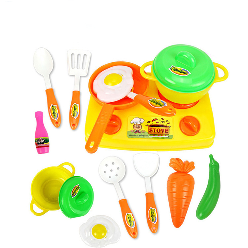 13 Pcs Set Kids Classic Diy Simulation Cooking Utensils Pretend Play Toys Mini Plastic Kitchen Accessory Children Education Game