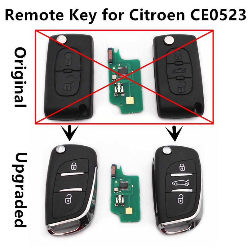 Prix pour De Voiture améliorée À Distance Flip Clé 433 MHz ID46 puce pour CITROEN C2 C3 C4 C5 C6 Sans Clé Entrée Contrôleur CE0523 modèle