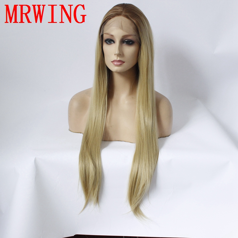 MRWIG long straight short dark roots brown ombre #27mixed#613 synthetic heat resistant fiber real hair 26in
