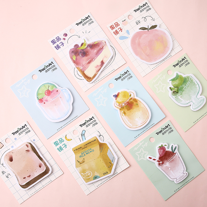 1 Set Memo Pads Sticky Notes Fruit Shop Series Paper Notepad Diary Scrapbooking Stickers Office School Stationery Notepads