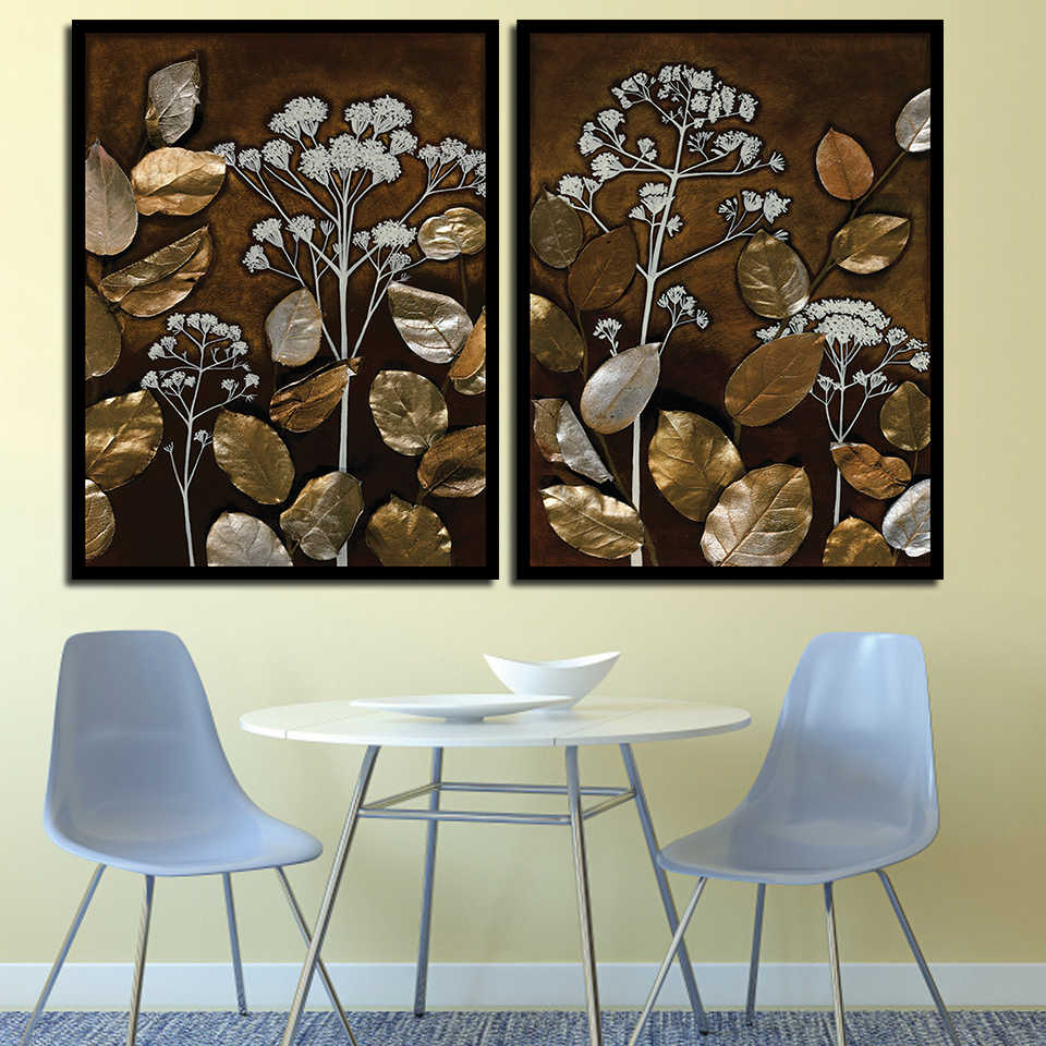Nordic Poster Office Abstract Flower Bronze Leaves Pictures Wall Artwork Modern Canvas Print A4 Paintings Living Room Home Decor
