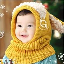 Chapéus de Inverno 2016 Quentes Crianças Novidade Moda Bebes Quente Tampão Do Lenço Definir Newborn Crochet Outfit Infantil Azul Vermelho Amarelo