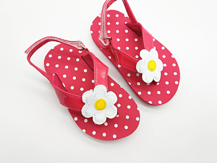 New Kids Shoes Fashion Flowers Polka Dot Sandals Grils Shoes Baby Flip-flop Slippers Girls Sandals Pink Children Shoes
