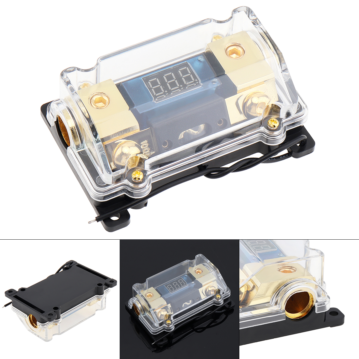 Universal 100A 1 IN Way Copper Plated Car Stereo Audio Power Fuse Holder with High-Definition Display for Boat Vehicle