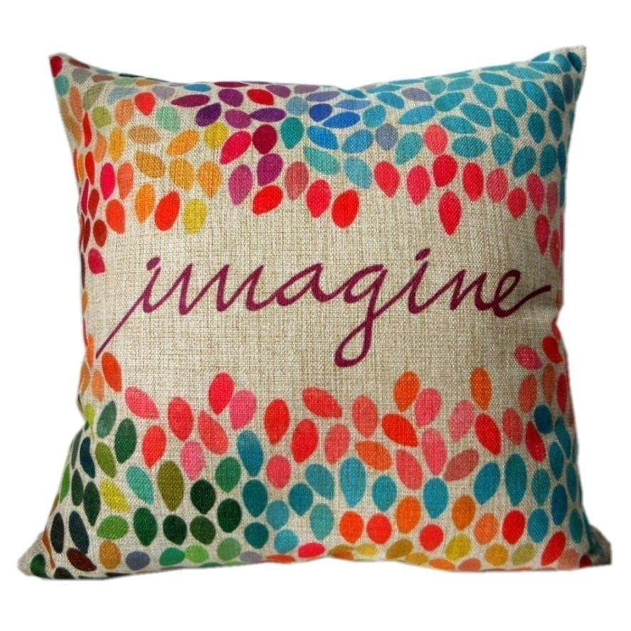 Cotton Linen Square pillow cove Decor Throw Pillow Case Cushion Cover Colorful Imagine 18 inch ramadan decoration