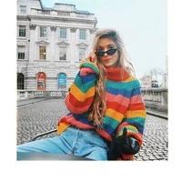 ed9f6c6bd9 2019 Sweatet Women Winter Turtleneck Sweaters Long Sleeve Knitted Sweater  Female Casual Loose Women Striped Sweaters