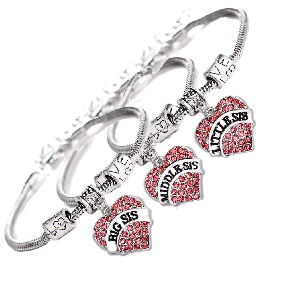 3Pc Big Middle Little Sis Sister Bracelets Women Family Girls Friends Gifts Crystal Heart Charms Love Beads Chain Bangle Jewelry