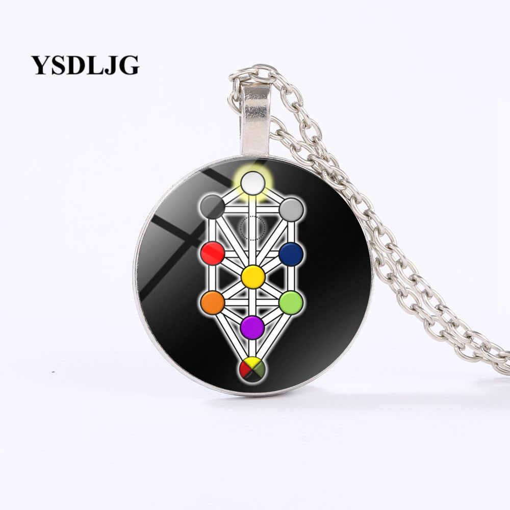 Esoteric ожерелье-Kabbalah Дерево жизни Sephirot символ-Qabalah оккультный подарок стеклянный вогнутый круглый кулон ожерелье ювелирные изделия