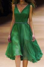 Cocktail Party Kleid 2015 2016 tiefem V-Ausschnitt Green Perlen Plissee Chiffon kurze Abschlussball-Kleider Homecoming Kleider Freies Verschiffen