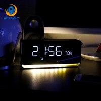 Smart Music Alarm Clock Multifunction Student Audio Bedside Table Lamp Wireless Bluetooth Alarm Clock Square Metal Scrub Clocks