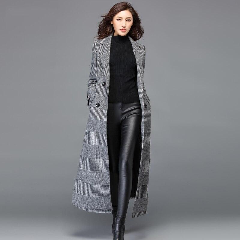 Femmes De Cachemire Manteau Longue Ceinture Taille 3xl G414 Laine Vintage Mode Ourerwear D'hiver Plus Manteaux Plaid Femelle Gris En Avec Veste B7nxqw5q