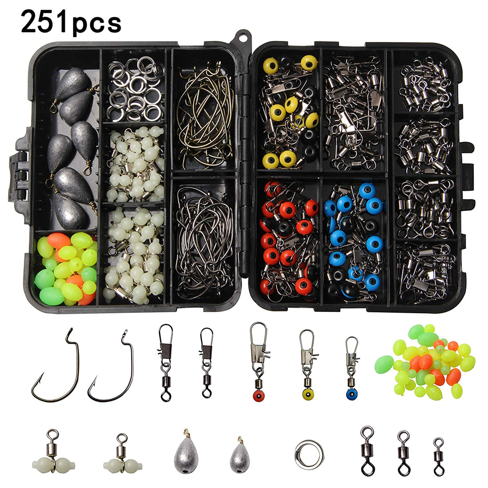 Image 2 - 251Pcs/Box Fishing Accessories Tackle Kit Including Jig Hooks Swivel Snaps Sinkers Split Rings Beads For Freshwater SaltFishing Tackle Boxes   -