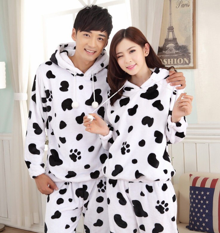 Adults Winter Flannel Pajamas Cartoon Cow Suit Soft and Comfortable for Unisex on Sale KS0716