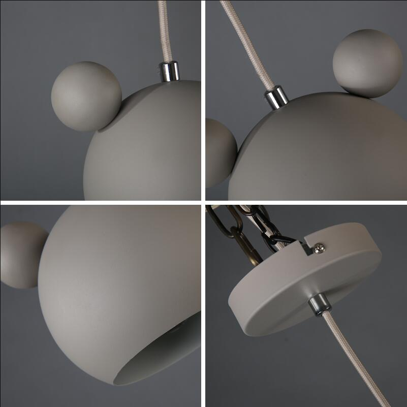 Art moderne belle Mickey Mouse fer pendentif lumières cadeau mignon métal pendentif lampes nordique pas cher fer suspendus lumières Lumianire lampe - 6