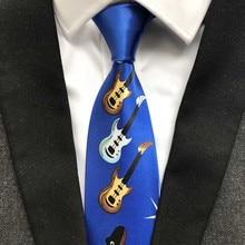 Fashion Unique Design Polyester Guitar Ties 9cm Classic Artisit Necktie Gentlemen Woven Gravatas for Men