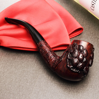 2018 New ADOUS Chinese style hand carved briar Tobacco pipe Smoking pipes 9MM tiger