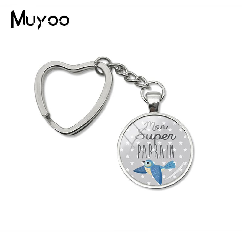 2019 New Super Parrain Heart Keychain Love Gifts Key Chain Glass Cabochon Jewelry Handmade Keychains