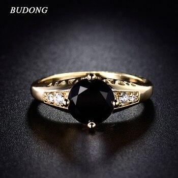 802848273bd4 Budong 2017 moda marca Anillos de compromiso para las mujeres de oro de  color gran anillo de cristal negro cúbicos zirconia boda joyería anillo r122
